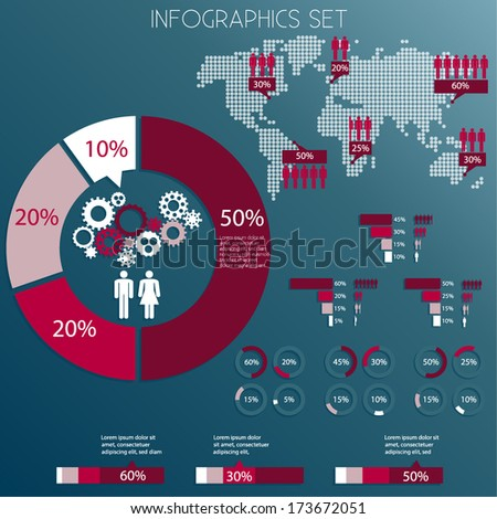 Infographics design elements set statistics pie stock vector infographics design elements set statistics pie chart world map vector eps10 ccuart Images