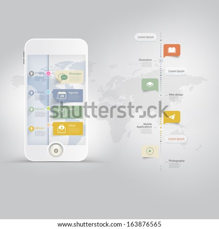 Infographics Design kit UI Elements with timeline and icons set - stock vector