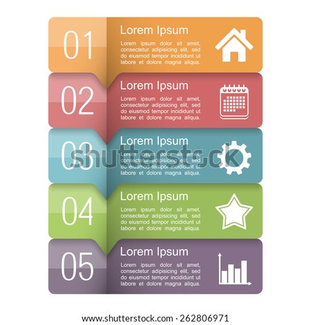 Infographics design template with five elements, text boxes with numbers and icons, vector eps10 illustration - stock vector