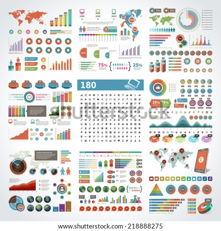 Infographics Design Templates set. Charts, diagrams, objects, vector elements for data and statistics design and 180 icons - stock vector