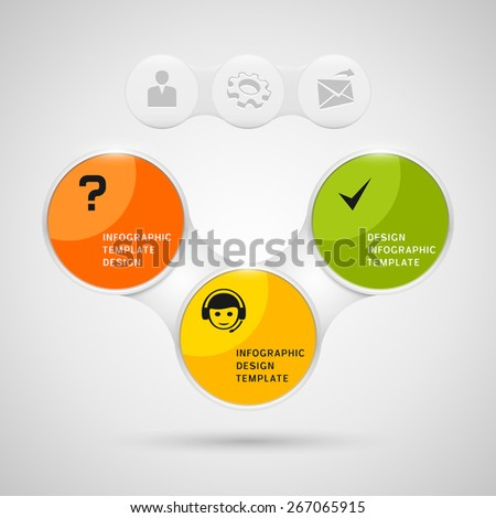 Infographics design with color round elements on gray background - stock vector