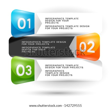 Infographics design with numbered elements - stock vector