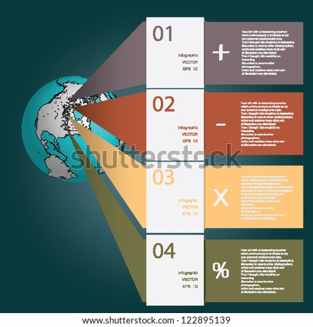 Infographics. Earth design template.  Element of this image furnished by NASA. - stock vector