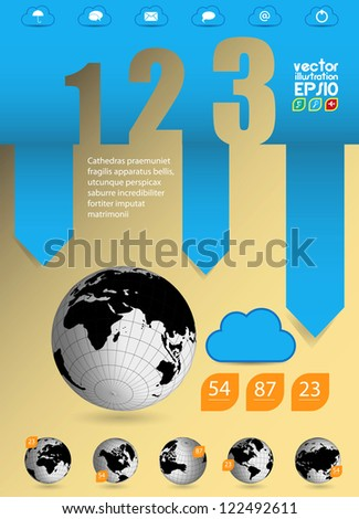 Infographics. Earth map - stock vector