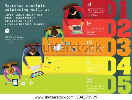 Infographics Element -  Top View on lines with People. Vector illustration. - stock vector