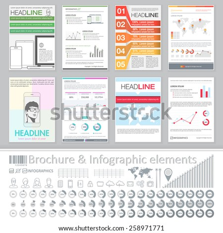 Infographics elements and Creative Brochure Template Design for business data visualization. Abstract Vector Flyer, Pamphlet, Leaflet layout for marketing, advertising Posters, Placards, Backgrounds - stock vector