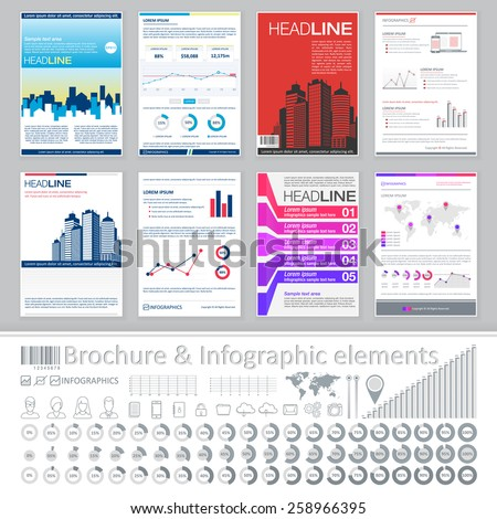 Infographics elements and Creative Brochure Template Design for real estate business. Abstract Vector Flyer, Pamphlet, Leaflet layout for marketing, advertising Posters, Placards, Backgrounds. - stock vector
