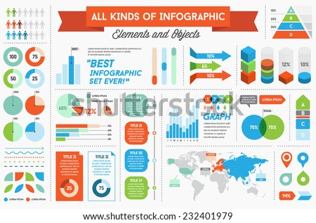 Infographics Elements and Objects Big Huge Set All Kinds of Infographic Modern for Business with Flat Design For Web, Print Booklets Brochures or Applications - stock vector