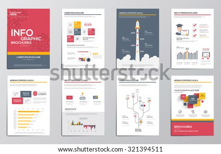 Infographics elements for corporate brochures. Collection of modern infographic elements in a flyer and brochure concept. Flat design. Vector - stock vector