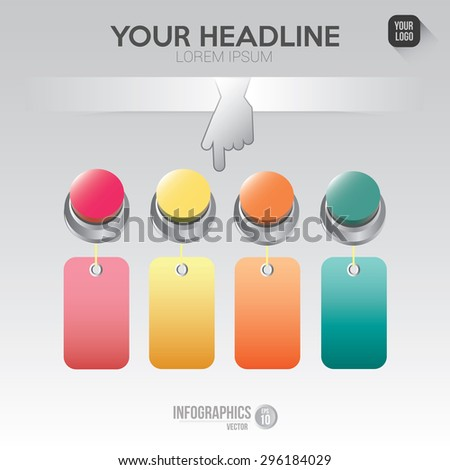infographics elements for layout, banner, number,step,options,button,cursor click contain EPS10 format .  - stock vector