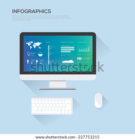 Infographics elements on computer. Abstract background. Vector illustration - stock vector