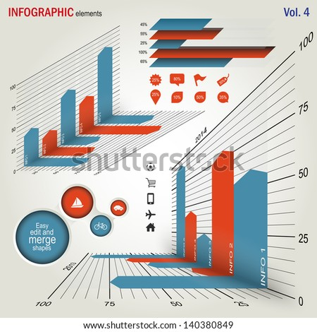 Infographics elements set - easy edit - stock vector