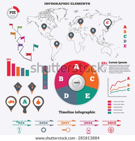 Infographics elements set pie chart world stock vector 285813884 infographics elements set pie chart world map pointers flags timeline diagram gumiabroncs Gallery