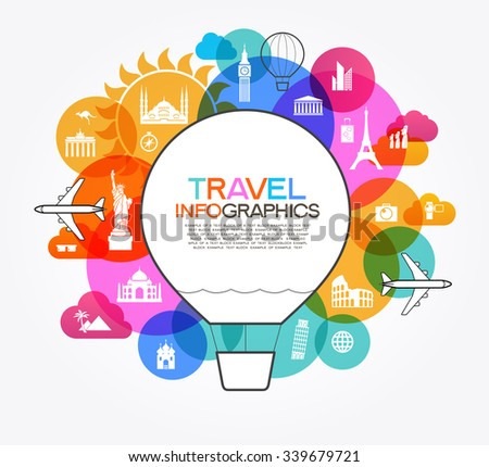 Infographics elements: Travel and Famous Landmarks. - stock vector