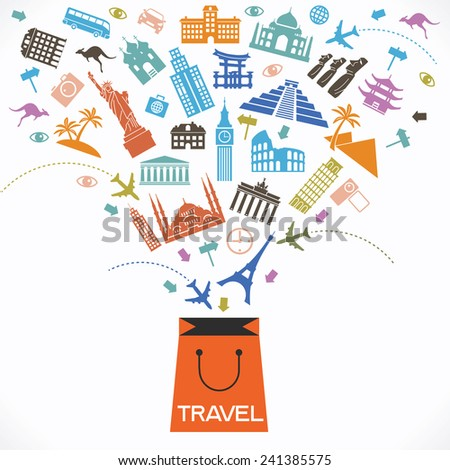 Infographics elements: Travel and Famous Landmarks. Travel concept with stylish colorful icons and guidepost. bag and travel icons.  concept of travel.  Travel shop - stock vector