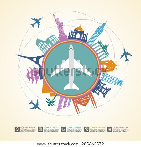 Infographics elements: Travel and Famous Landmarks. Travel concept with stylish icons. File is saved in AI10 EPS version. This illustration contains a transparency  - stock vector