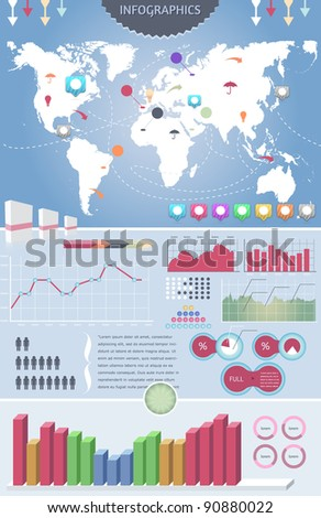 Infographics elements  vector design and world map - stock vector