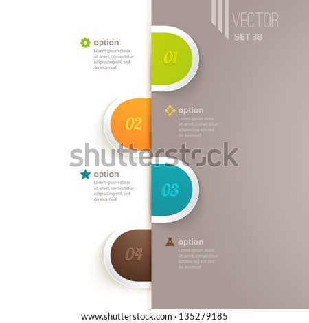 Infographics elements with options and descriptions - stock vector