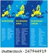 Infographics: European economic associations: Eurozone, Schengen Area, European Union 2015 - stock vector