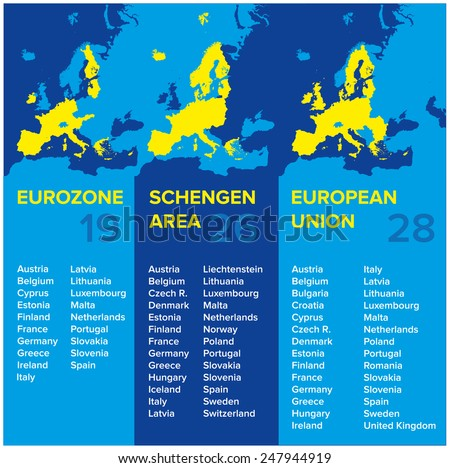 Infographics: European economic associations: Eurozone, Schengen Area, European Union 2015