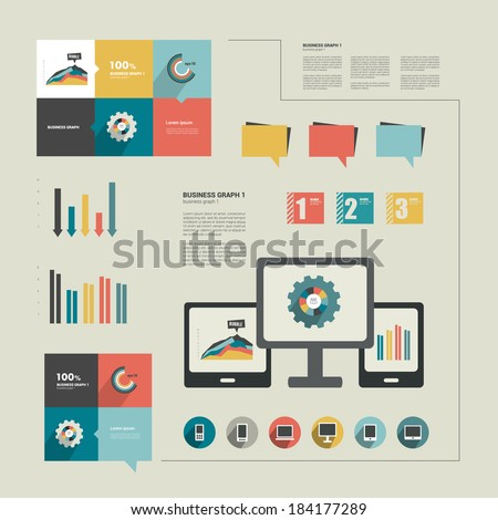 Infographics flat design. Elements for catalogs, annual reports, brochures, magazines.  - stock vector