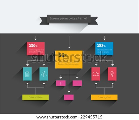 Infographics flowchart. Colored shadows scheme.  - stock vector