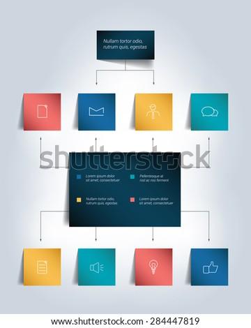Infographics flowchart. Colored shadows scheme. - stock vector