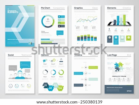 Infographics flyer and brochure designs and web templates vectors. Data visualization and statistic elements for print, website, corporate reports and graphic projects.  - stock vector
