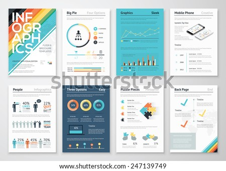 Infographics flyer and brochure elements for business data visualization. Vector illustration in modern flat info graphic style, that can be used for marketing, websites, print, presentation & mobile. - stock vector