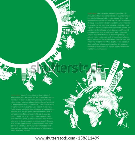 infographics Green modern city living concept. and ECO concept - stock vector
