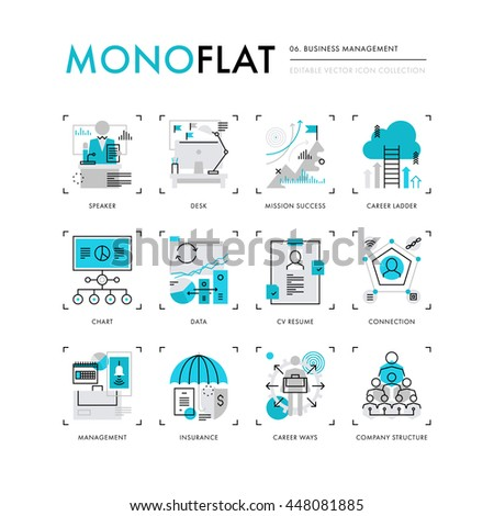 Infographics icons collection of business company structure, human resources management. Modern thin line icons set. Premium quality vector illustration concept. Flat design web graphics elements. - stock vector