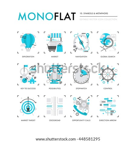 Infographics icons collection of conceptual business symbols and new leadership metaphors. Modern thin line icons set. Premium quality vector illustration concept. Flat design web graphics elements. - stock vector