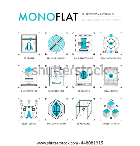 Infographics icons collection of 3D printing technology, volumetric object scanning and scaling Modern thin line icons set Premium quality vector illustration concept Flat design web graphics elements - stock vector