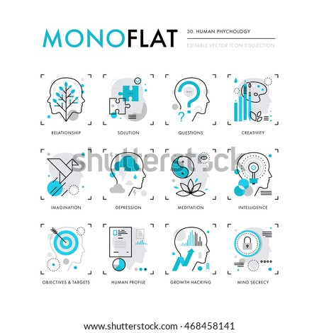 Infographics icons collection of human intelligence, psychology models, mental operations. Modern thin line icons set. Premium quality vector illustration concept. Flat design web graphics elements. - stock vector