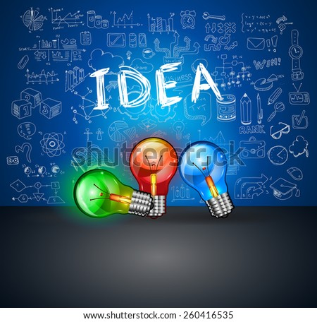 Infographics Idea Lamp with Business doodles Sketch background: infographics vector elements isolated, . It include lots of icons included graphs, stats, devices,laptops, clouds, concepts and so on. - stock vector