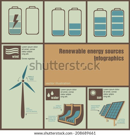 infographics illustration of renewable energy - stock vector