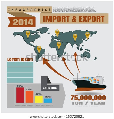 infographics import and export - stock vector