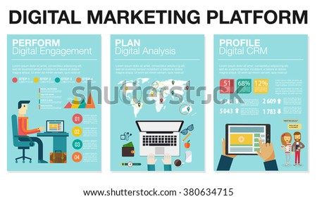 Infographics in flat style. Vector illustration about digital projects, management, engagement, analysis, communication. Use in website, corporate report, presentation, advertising, marketing platform - stock vector