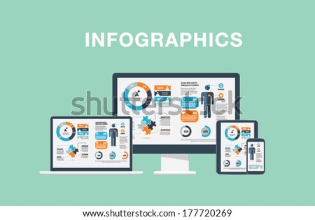 Infographics in modern flat vector illustration electronic devices laptop, tablet, computer and smartphone - stock vector