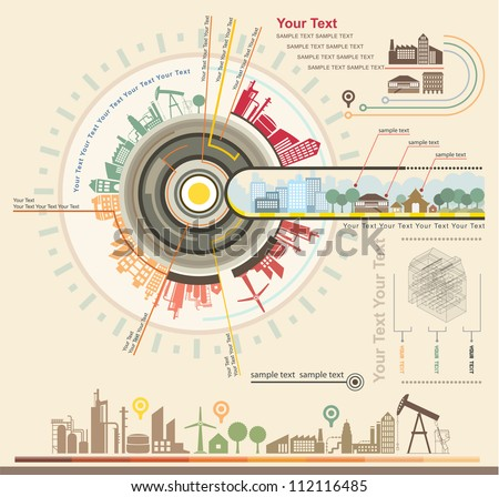 Infographics Industrial buildings and residential areas , Set Of vector  infographics and Information Graphics - stock vector