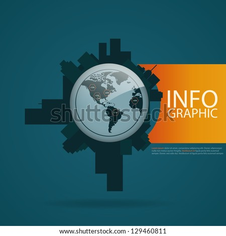Infographics Industrial buildings and residential areas. Set of vector infographics and Information graphics - stock vector