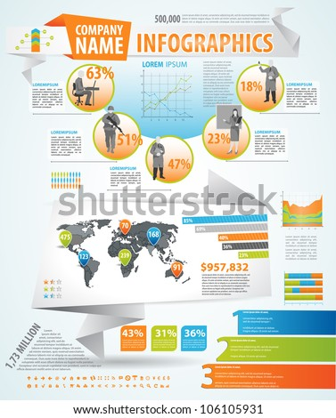 Infographics master collection: graphs, histograms, arrows, chart, 3D globe, icons and a lot of related design elements - stock vector