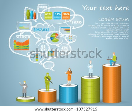 Infographics master collection: graphs, histograms, arrows, chart, 3D map, bubble speech, icons and a lot of related design elements. Easy to edit country - stock vector