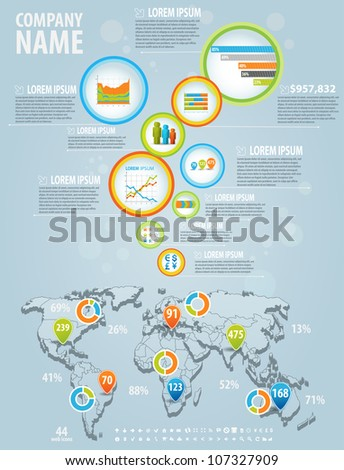 Infographics master collection: graphs, histograms, arrows, chart, 3D map, icons and a lot of related design elements in flyer bubbles. Easy to edit country - stock vector