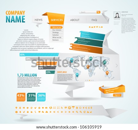 Infographics master collection: graphs, histograms, arrows, chart, map, icons and a lot of related design elements in origami style - stock vector