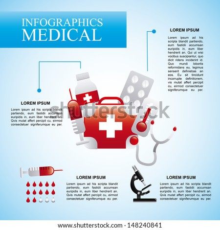 infographics medical  over blue background vector illustration  - stock vector