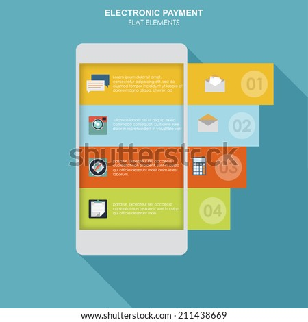 Infographics mobile phone data. app ui in flat style - stock vector