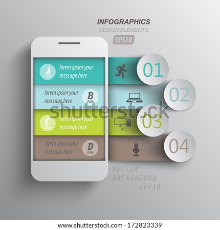 infographics mobile phone data / paper style - stock vector