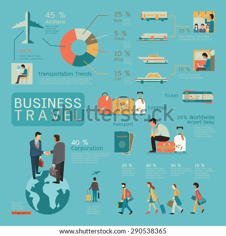 Infographics of business travel concept, flat design, businesspeople character.  - stock vector