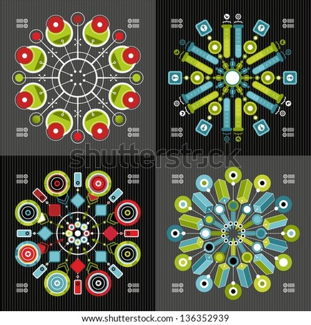 infographics on a black background - stock vector